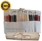 36 Paint Brushes for Painting Acrylic, Oil, Watercolour with Art Supplies Carry Pouch