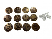 Happy Will 50 Pcs Vintage Metal Jeans Button Replacement with Track Button Diameter 2cm Pattern Random Shipping with Stylus