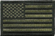 Tactical USA Flag Patch OD - Olive Drab 5.1cm x 7.6cm hook and loop Backing - By Ranger Return