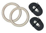 Gymenist Pair of Wood Gymnastics Gym Rings Set of 2 Workout Exercise Hoops with Bands And Buckles Choose Width of Belt