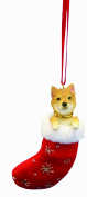 "Shiba Inu Christmas Stocking Ornament with ""Santa's Little Pals"" Hand Painted and Stitched Detail"