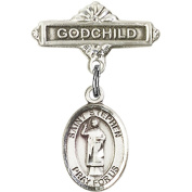 Sterling Silver Baby Badge with St. Stephen the Martyr Charm and Godchild Badge Pin 2.5cm X 1.6cm