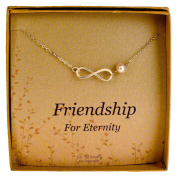 Sterling Silver Infinity Necklace - Cultured Pearl Bridesmaids / Friendship Jewellery Gift