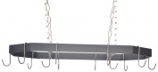 J & J Wire Hanging Pot and Pan Rack with Nickel Chain