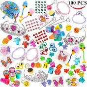 Joyin Toy 100 Pc Party Favour Toy & Accessory Assortment for Girls, Kids Party Favour, Birthday Party, School Classroom Rewards, Carnival Prizes, Pinata Toy, Stocking Stuffers, Halloween Accessories