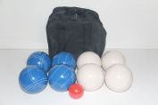 Premium Quality and American Made, 110mm EPCO Bocce Set - blue and white balls and black bag