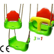 Great Gift ! Children Kids Toddler Safety Swing Rope Garden Outdoor Plastic Seat Chair 3in1 / Baby Toy Game Play Infant Toddler Kids Child Boys Girls Cool Unique Special Activity Educational Learning Smart Development Intelligence Motoric Friends Prese ..