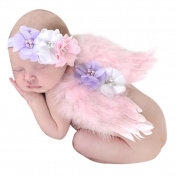 CHIC-CHIC (0-6M) Newborn Infant Baby Feather Angel Wings Costume Outfit Cute Cosplay Photography Props Set with Flower Pearl Headband