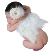 CHIC-CHIC (0-6M) Newborn Infant Baby Girl Feather Angel Wings Costume Outfit with Flower Hairband Cosplay Photography Props Set