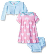 Gerber Baby Three-Piece Cardigan, Dress and Nappy Cover Set, Big Hearts, 24 Months Size: 24 Months SpecialSizeType: Baby Colour