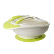 DINGANG® Non-slip Baby Kids Feeding Suction Bowl with Spoon - Green Yellow