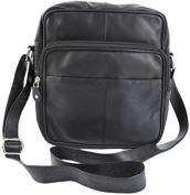 Primehide Soft Black Leather Unisex xbody Top Zip Organiser Shoulder Bag 1454