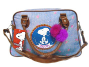 New ladies Snoopy Peanuts Retro Bowler Bowling Bag Light Blue Handbag Holdall