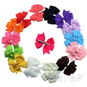 Clest F & H Baby Hair Bow Clip Boutique Girls Kids Grosgrain Ribbon Large Hairbow Alligator Clips Hair Accessories,12pcs/set-Radom Colour