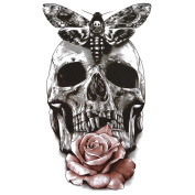 COKOHAPPY Large Temporary Tattoo , Black Skull Butterfly Pink Rose Tattoo , Sexy Body-Art Long-Lasting for Sexy Lady Girl Women