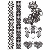 COKOHAPPY Temporary Tattoo , Wedding Black Lace Flower Totem Crown Heart Bracelets Armbands Ring Wrist Fake Jewellery Henna , Long-Lasting for Girl Women