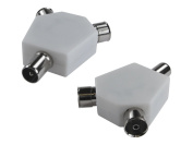 * Rhinocables * 2X Female to 1x Male Coax Splitter Adapter TV Television Aerial Coaxial Coupler