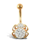 9ct Yellow Gold White Clear Stone Spider Belly Bar
