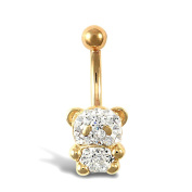 9ct Yellow Gold White Clear Stone Teddy Belly Bar