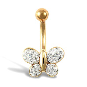 9ct Yellow Gold White Clear Stone Butterfly Belly Bar