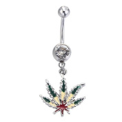 Belly Button Ring Pot Leaf Dangle Navel Ring 14G 1.6mm