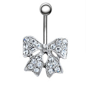 Dangle Belly Button Ring Butterfly Clear Crystal Navel Ring