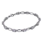 Next day Delivery Charmbeads 925 Sterling Silver CZ Round Cubic Zirconia Tennis Bracelet 18cm