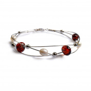 Classic Baltic Cherry Amber, Pearl and Silver Weave Bangle