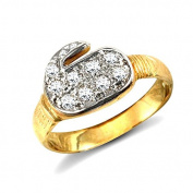 9ct Yellow Gold Clear Stone Childs Boxing Glove Ring