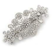Medium Silver Tone Filigree Diamante Floral Barrette Hair Clip Grip - 70mm Across