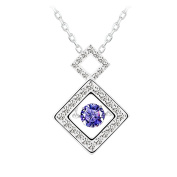Le Premium® 925 sterling silver SQUARES Dancing Diamond Pendant Necklace with Suspension Craft fixed AAA Lavender purple Zircon
