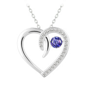 Le Premium® 925 sterling silver MEET Heart Dancing Diamond Pendant Necklace with Suspension Craft fixed AAA Lavender purple Zircon