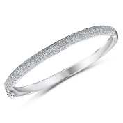 ® Silver Bangle Featuring Brilliant Cut Cubic Zirconia Stones In A Pave Setting