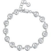 JOOLS by Jenny Brown ® Silver Bracelet Featuring Circles of Silver And Brilliant Cut 3mm Cubic Zirconia Stones