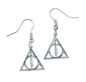 Official Harry Potter Deathly Hallows Symbol Drop Silver Plated Earrings
