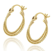 Juvel-Jewellery Fashion Noble Style 14K Gold Plated Hoop Earrings 3 Circles Round Shape For Party