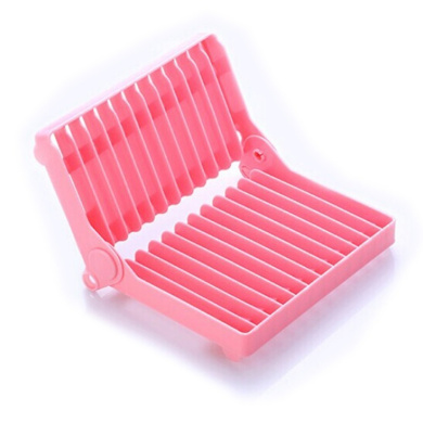 LEORX Folding Plastic Dish Drying Rack , Utensil Drainer (Pink)