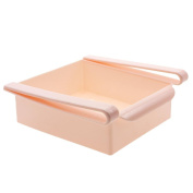 Fridge Storage Sliding Drawer Freezer Storage Shelf Multipurpose Refrigerator Organiser Space Saver Shelf -Pink