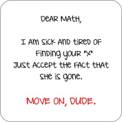 Dear Math Move On Dude Funny Wooden Coaster