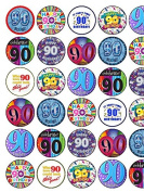 30 Assorted 90th Birthday Male Premium Rice Paper Cup Cake Toppers