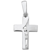 SKE04 Silver Women's Cross Pendant 925 Sterling Silver White Zirconia