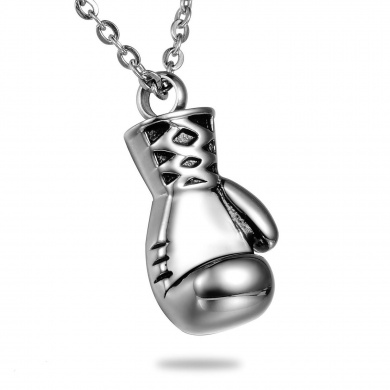 Stainless Steel Boxing Glove Memorial Ash Pendant Urn Necklace Keepsake Cremation Jewellery