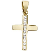 Basic Gold K36 14 Carat (585) White Ladies Pendant Cross Zirconia Regenbogen