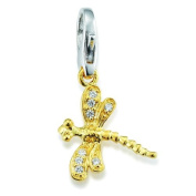 GXC043 / G Women's Charm Pendant Dragonfly 925 Sterling Silver Gold-Plated with White Zirconia