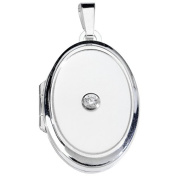 Silver SL03 White Zircons Pendant 925 Sterling Silver Ladies Pearl Locket