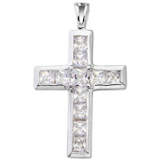 Silver SKE01 Ladies Pendant 925 Sterling Silver Zirconia Cross White