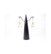 Premier Housewares Cone Shaped Earrings Made of Solid Wood With Black