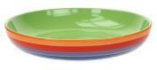Windhorse Rainbow Striped Ceramic Pasta Bowl - 23cm x 23cm x 4½cm - Hand Painted
