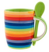 Windhorse Rainbow Ceramic Striped Large Coffee / Tea Mug with Spoon - 350ml - 10½cm High x 8½cm Diameter - Hand Painted