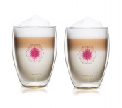 """Creano """"Flower of Life"""" Double-Walled Tea/Latte/Macchiato Thermo-Mug in Exclusive Gift Box, Purple, 250 ml, Pack of 2"""